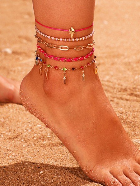 Chic Alloy With Rhinestone Anklets(5 Pieces)
