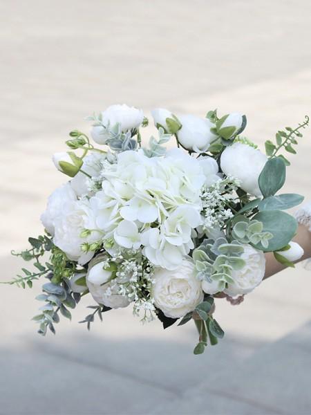 Free-Form Fascinating Silk Flower Bridal Bouquets