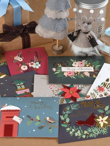 Exquisite Flower Christmas Cards(64 Pieces)