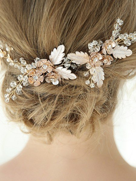 Trendy Alloy With Crystal/Flower Combs&Barrettes/Hairpins Headpieces