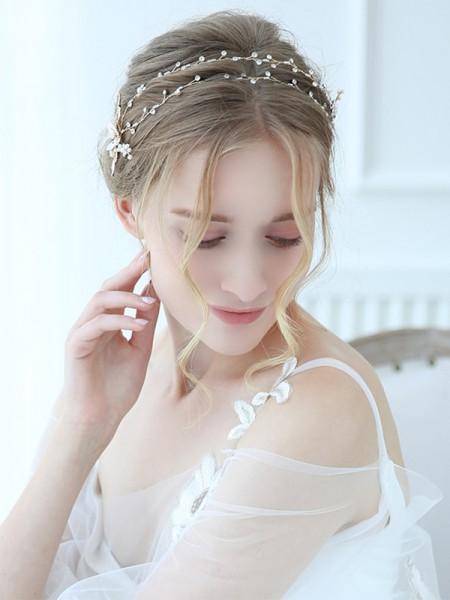 Shinning Alloy With Imitation Pearl Headbands Headpieces