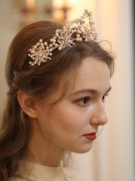 Charming Alloy With Pearl Tiaras Headpieces
