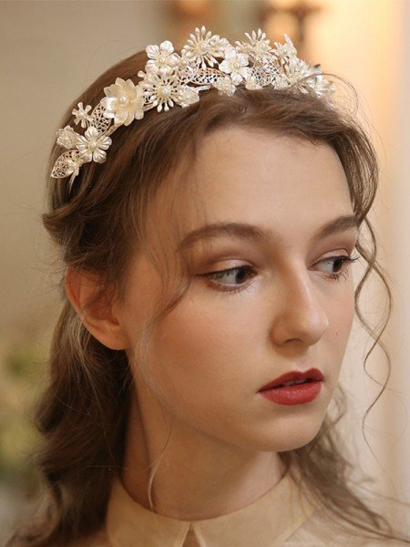 Pretty Alloy With Pearl Tiaras Headpieces