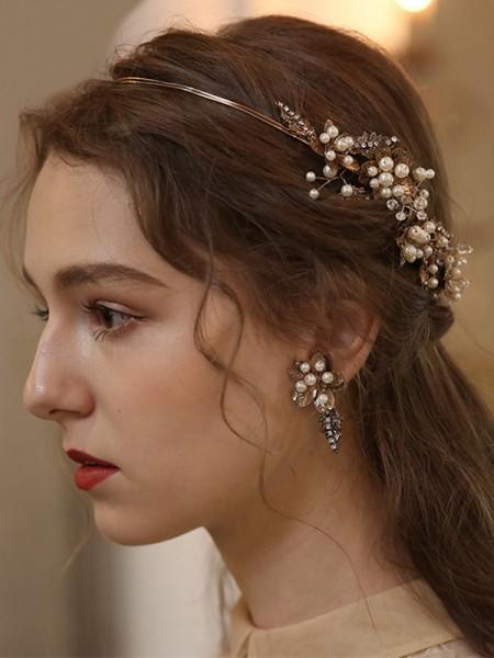 Elegant Alloy With Imitation Pearl Headbands Headpieces
