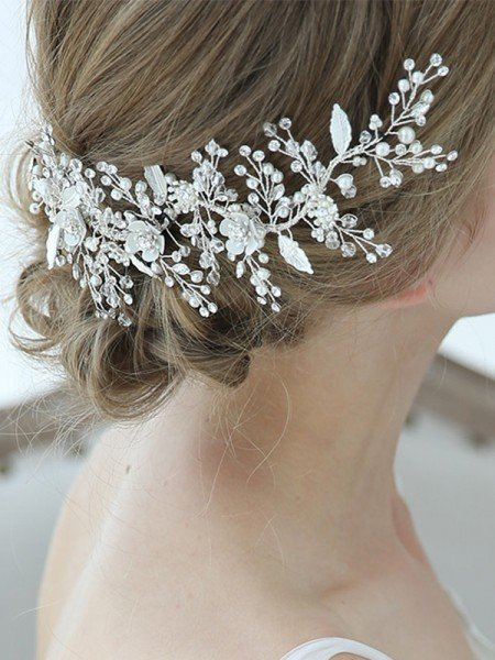 Bright Alloy With Crystal/Imitation Pearl Combs&Barrettes Headpieces