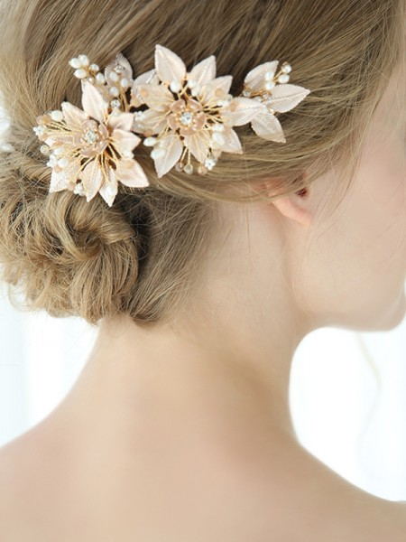 Elegant Alloy With Flower Combs&Barrettes Headpieces