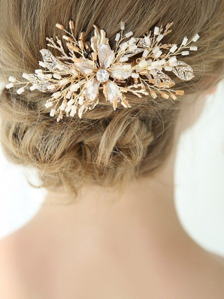 Brilliant With Flower Alloy Combs&Barrettes Headpieces