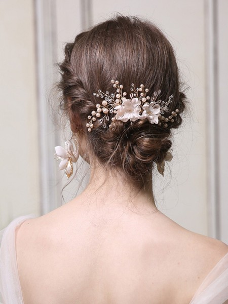 Gorgeous Alloy With Pearl Combs&Barrettes Headpieces