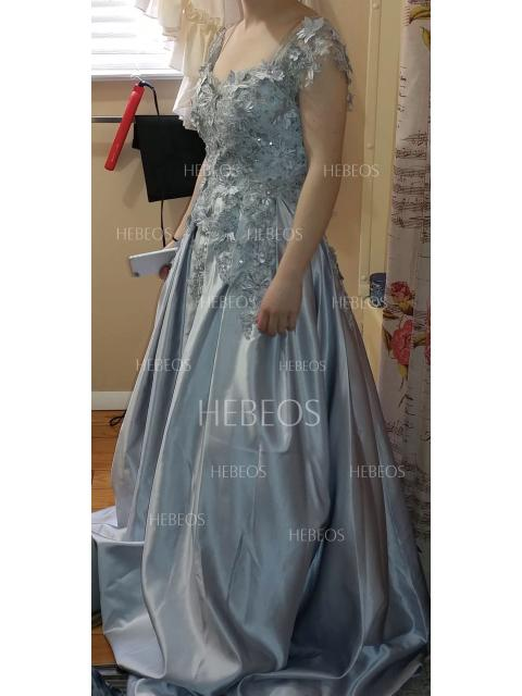 c8dfb58ae Ball Gown Sleeveless Off-the-Shoulder Applique Satin Floor-Length ...