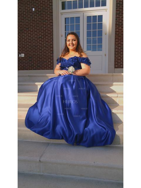 60cef5001f73 Ball Gown Sleeveless Off-the-Shoulder Applique Satin Floor-Length ...